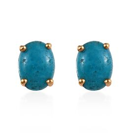 Kingman Turquoise (Ovl) Stud Earrings (with Push Back) in 14K Gold Overlay Sterling Silver 1.500 Ct.