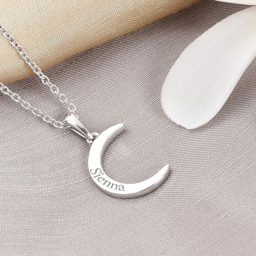 Personalise Engraved Crescent Moon Necklace