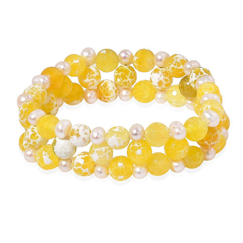 Yellow Agate and Fresh Water White Pearl Stretchable Bracelet (Size 7.5) 185.000 Ct.