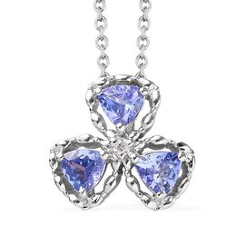 GP Tanzanite and Multi Gemstone Shamrock Pendant with Chain in Platinum Plated Silver 18 Inch