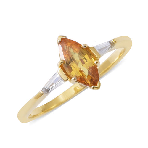 9K Yellow Gold AA Yellow Sapphire (Mrq), Natural Cambodian White Zircon Ring 1.190 Ct.