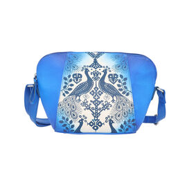 SUKRITI 100% Genuine Leather Peacock Hand Painted Crossbody Bag (28x9x20cm) with Adjustable Shoulder