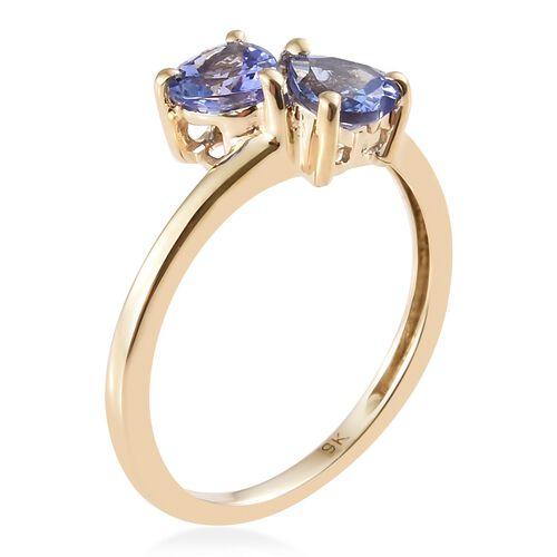 9K Yellow Gold AA Tanzanite Twin Heart Ring 0.75 Ct