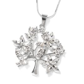 White Austrian Crystal and Simulated Diamond Tree Pendant With Chain (Size 29 with 2 Inch Extender)