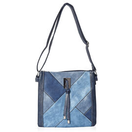 Geometric Pattern Tote Bag with Three Compartments, Adjustable Shoulder Strap and Zipper Closure (Si
