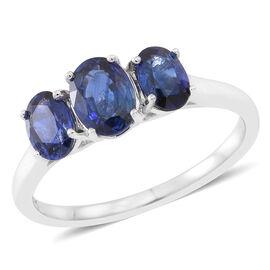 ILIANA 2 Carat AAAA Ceylon Sapphire 3 Stone Ring in 18K White Gold