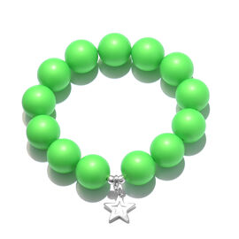 J Francis -Swarovski  Green (Rnd 16 mm)  Crystal Bracelet (Size 7 Stretchable) with Star Charm in Sterling Silver
