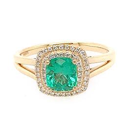 ILIANA 18K Yellow Gold AAA Boyaca Colombian Emerald (Cush 1.15Ct.), Diamond (SI/G-H) Ring 1.35 Ct.