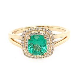 ILIANA 18K Yellow Gold AAA Boyaca Colombian Emerald (Cush 5.7x5.7mm), Diamond (SI/G-H) Ring 1.10 Ct.