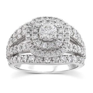 TLV- NY Close Out Deal- 14K W Gold Diamond (Center Dia. 0.40 Ct) (I1/G-H) Ring 2.00 Ct,  Gold Wt. 8
