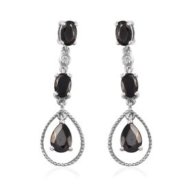 2.50 Carat Elite Shungite and Cambodian Zircon Drop Earring in Platinum Plated Sterling Silver