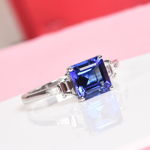 RHAPSODY 950 Platinum AAAA Tanzanite and Diamond Ring 2.10 Ct, Platinum wt. 4.75 Gms