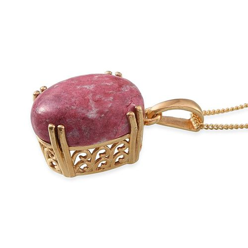 Norwegian Thulite (Ovl) Pendant With Chain in 14K Gold Overlay Sterling Silver 11.000 Ct.