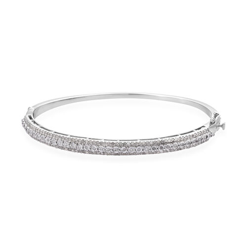 Diamond (Rnd) Bangle (Size 7.5) in Platinum Overlay Sterling Silver 1.00 Ct, Silver wt 13.00 Gms, Nu