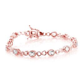 Marropino Morganite (Ovl) Bracelet (Size 7.5) in Rose Gold Overlay Sterling Silver 3.750 Ct.