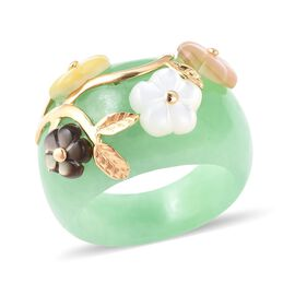 Green Jade ,Black, White,Yellow and Pink Mother of Pearl Band Ring in Yellow Gold Plated Sterling Si
