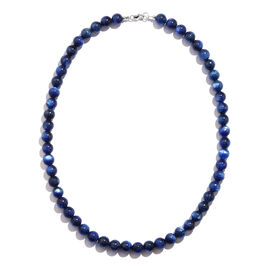Extremely Rare Tibetan Kyanite (8.0 mm) Beads Necklace (Size 18) in Rhodium Overlay Sterling Silver 250.000  Ct.