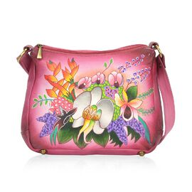 SUKRITI PERIMER Super Soft Genuine Leather Handprint RFID Protected Blooming Flowers Shoulder Bag wi