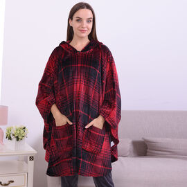 Red & Black Plaid Pattern Hooded Plush Wrap with Pockets (Length: 90cm)