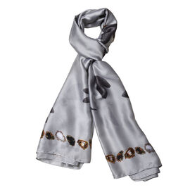 Grey Colour Gems and Dragonfly Pattern Scarf (Size 90x180 Cm)