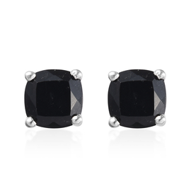 4.50 Ct Black Tourmaline Solitaire Stud Earrings in Platinum Plated Silver