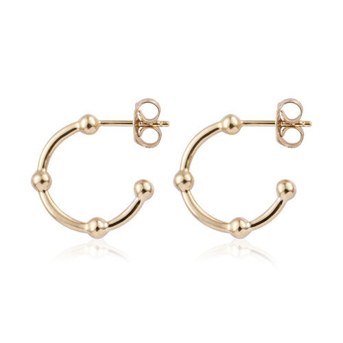 9K Yellow Gold J Hoop Earrings (with Push Back)