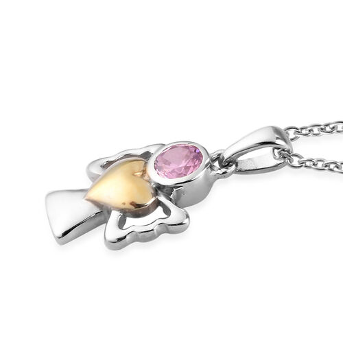 Simulated Pink Sapphire Pendant With Chain (Size 20) in Yellow Gold and Platinum Overlay Sterling Silver