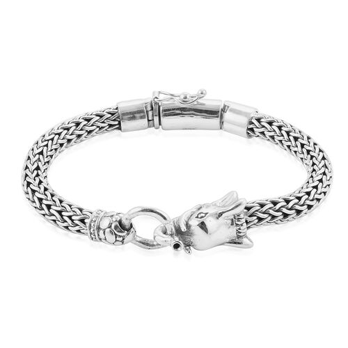 Royal Bali Collection Sterling Silver Elephant Head Tulang Naga Bracelet (Size 8), Silver wt 62.96 Gms.