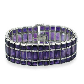 Lusaka Amethyst (Bgt), White Sapphire Bracelet (Size 7) in Rhodium Plated Sterling Silver 148.160 Ct