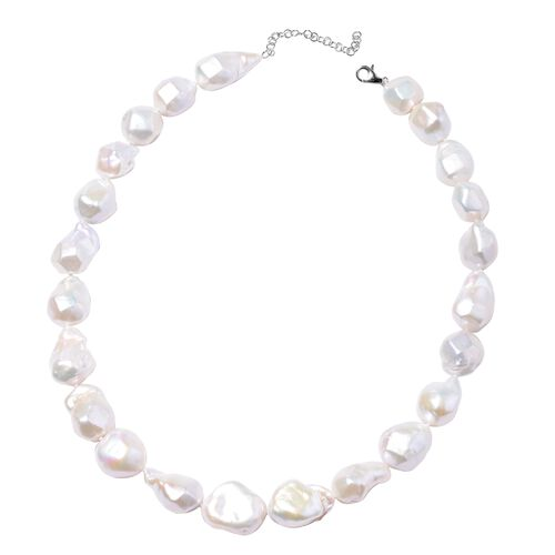 Fresh Water White Pearl Beaded Necklace in 950 Platinum 20 Inch