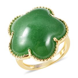 21.43 Ct Green Jade and Zircon Floral Ring in Gold Plated Sterling Silver 6.06 Grams