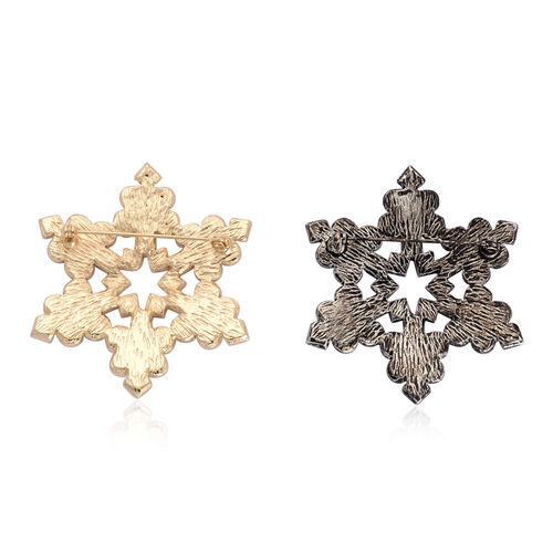 Set of 2 - White Austrian Crystal Snowflake Brooch in Black and Gold Tone