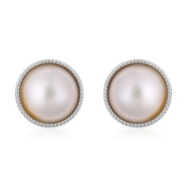 Mabe White Pearl Stud Earrings with Push Back in Rhodium Plated Silver