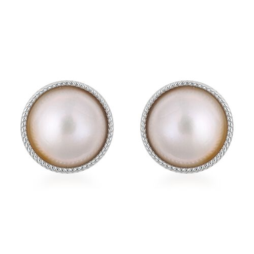 Mabe White Pearl Stud Earrings in Rhodium Plated Silver