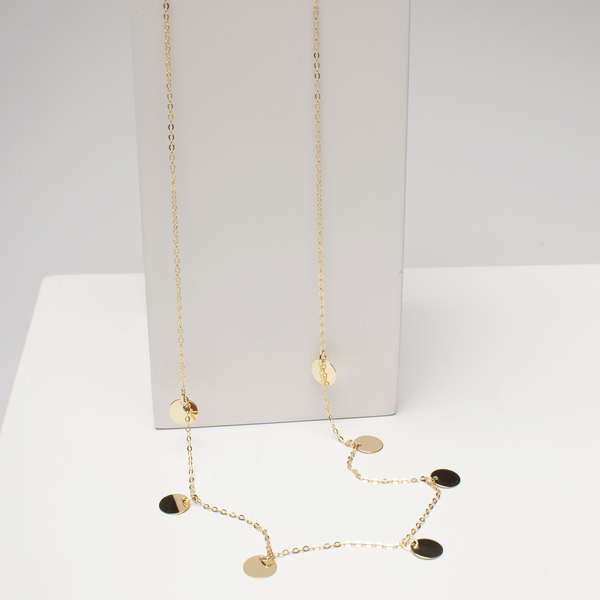 Italian Made - 9K Yellow Gold Station Necklace (Size 18)