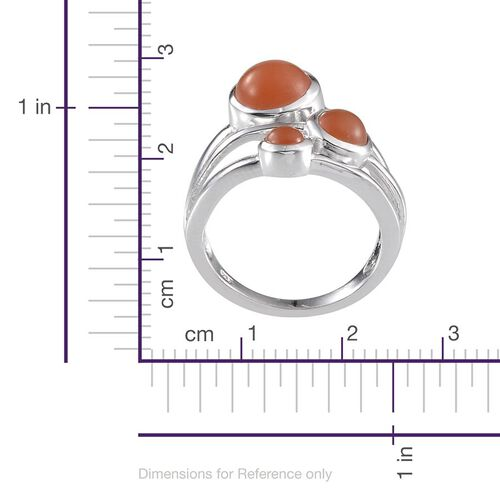Mitiyagoda Peach Moonstone (Rnd 2.25 Ct) 3 Stone Ring in Platinum Overlay Sterling Silver 3.650 Ct.