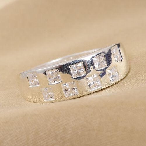 J Francis - Sterling Silver Band Ring Made with SWAROVSKI ZIRCONIA 0.59 Ct.