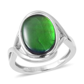 AA Canadian Ammolite (Ovl 14x10 mm) Ring (Size R) in Rhodium Overlay Sterling Silver