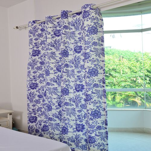 Blue and Cream Colour Chinese Porcelain Printed Double Side Curtain (Size 230X167 Cm)
