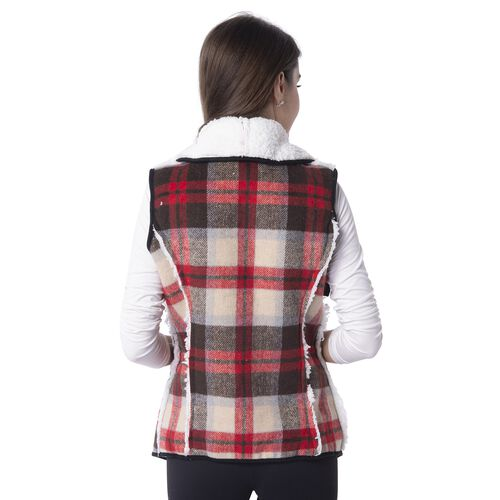 Sherpa Lined - Brown and Beige Colour Plaid Pattern Gilet (Size 70x47 Cm)