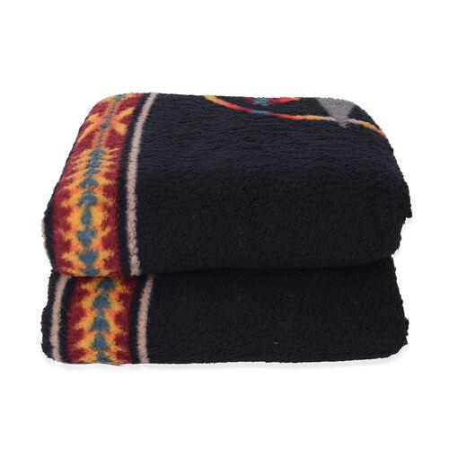 Tribal Pattern Sherpa Blanket (150x200cm) - Black