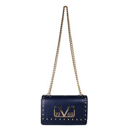 19V69 ITALIA by Alessandro Versace Crossbody Bag Detachable with Chain Strap (Size 27x6x17Cm) - Navy