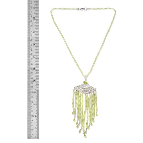Limited Available- Designer Inspired AAA Hebei Peridot (Rnd) Hand Made Waterfall Necklace (Size 18) in Platinum Overlay Sterling Silver 117.250 Ct. Silver wt 5.00 Gms.