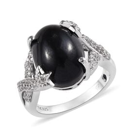 GP Boi Ploi Black Spinel and Multi Gemstone Solitaire Design Ring in Platinum Plated Silver