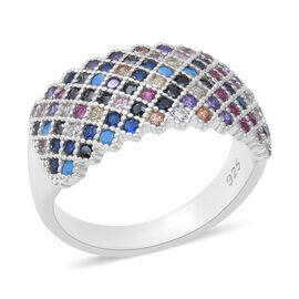 ELANZA Multi Colour Simulated Diamond Cluster Ring in Rhodium Plated Silver