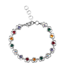 J Francis - Crystal from Swarovski AB Crystal and Multi Gemstone Colour Crystal (Rnd) Heart Bracelet