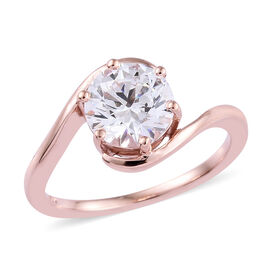 J Francis Rose Gold Overlay Sterling Silver (Rnd) Solitaire Ring Made with Swarovski Zirconia
