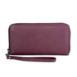 Super Soft 100% Genuine Nappa Leather RFID Clutch Wallet in Burgundy (19.8x10.9cm)