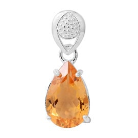 Citrine (Pear) Solitaire Pendant in Sterling Silver 5.000 Ct.
