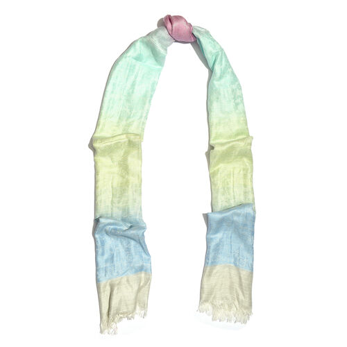 Turquoise, Pink and Multi Colour Floral Pattern Reversible Scarf with Fringes (Size 180X70 Cm)
